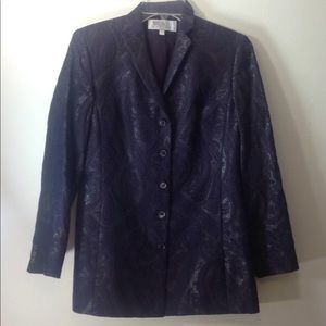 Worth Petites Blazer Jacket 4P Purple Gray Silver